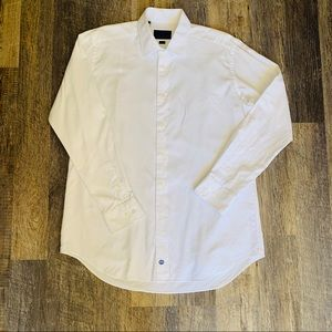 David Donahue Trim fit textured dress shirt